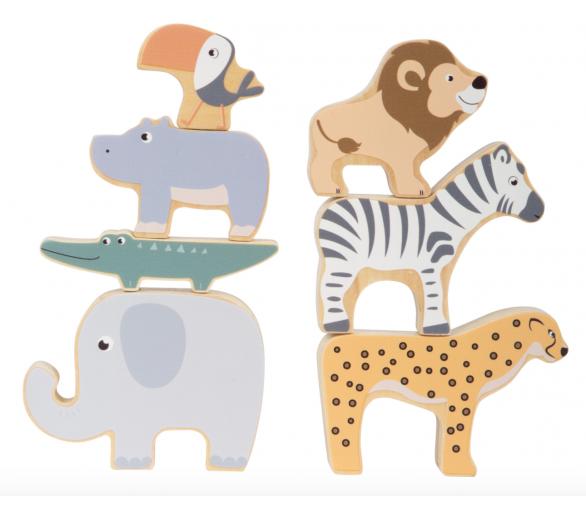 7 Animales de Madera Tonos Pastel +1