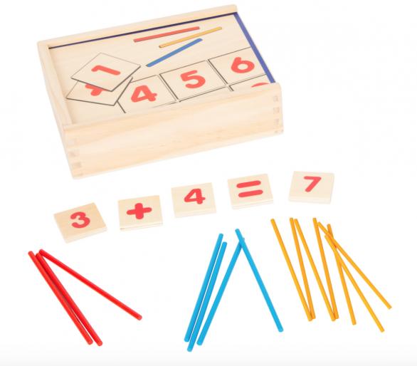 Juego Educativo Matemáticas Madera Cajita +6