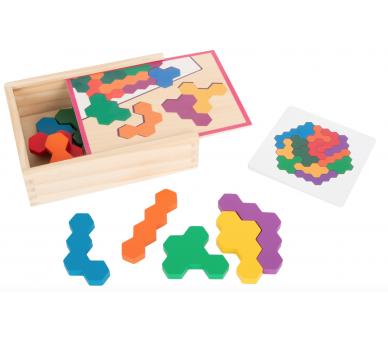 Puzzle Educativo Hexágono Madera para jugar sin pantallas