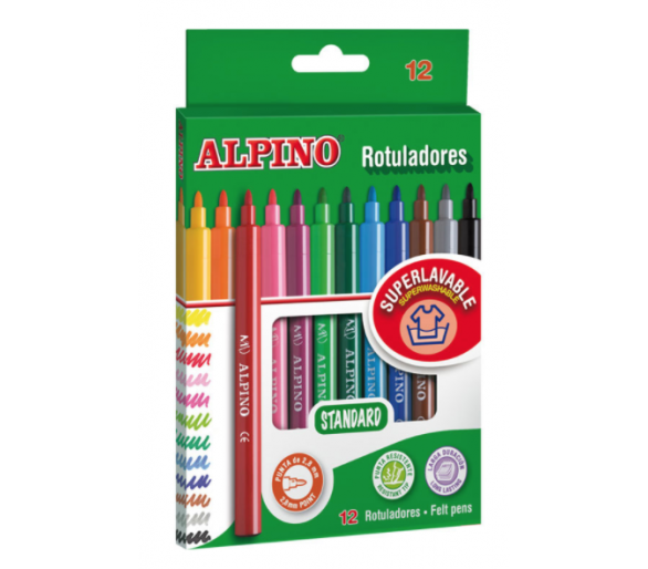 Rotuladores Alpino 12 Colores +3