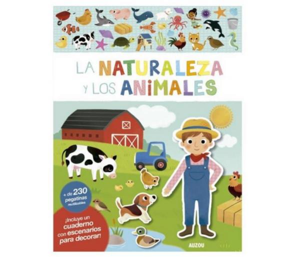 Libro Pegatinas Reutilizables Naturales y Animales para ofrecer en restaurantes