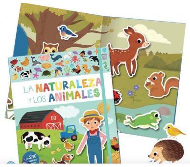 Libro Pegatinas Naturales y Animales para jugar sin pantallas