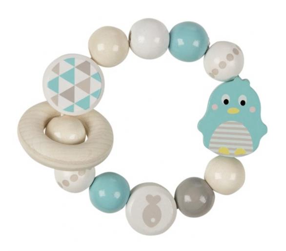 Sonajero Elástico de Madera Pingüino Ideal primer regalo para bebés