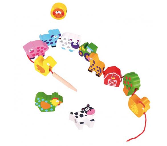 Juego para Enhebrar Animales Granja +1