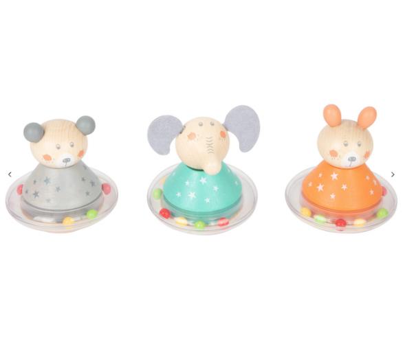 Sonajeros en tonos pastel para los bebés