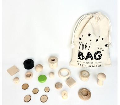 YupiBag con 20 Piezas de Madera para el Juego Libre