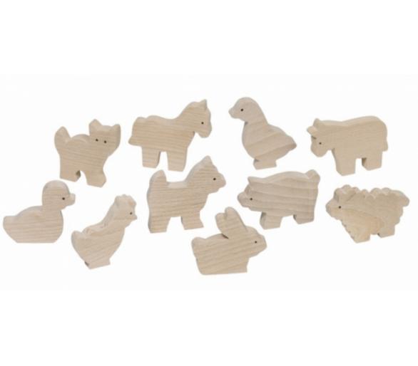 Animales de madera para el juego libre con la bolsita YupiBag