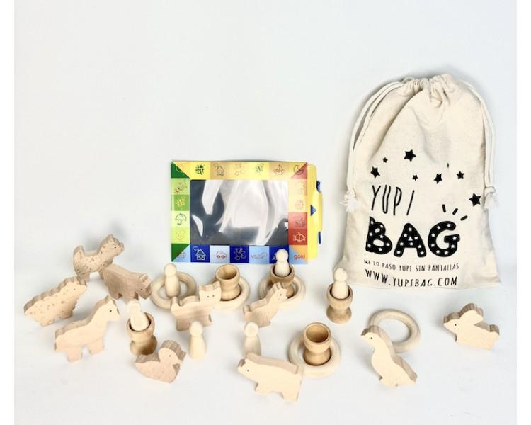 YupiBag Animales Nins Anillas Hueveras Pizarra para jugar sin pantallas
