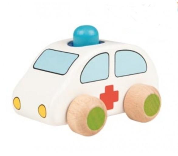Coche Ambulancia de Madera Claxon Juguetes Educativos