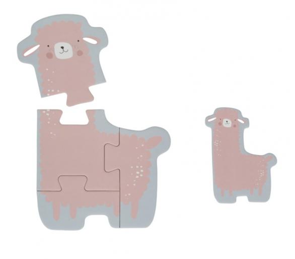 Ejemplo del Puzzle del llama en tonos pastel