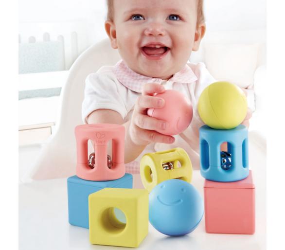 Trío de Sonajeros Geométricos Pastel ideal para bebés
