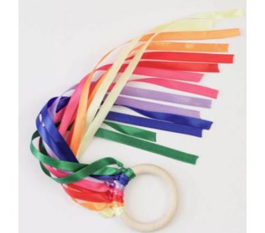 Cintas de Viento Arco Iris Waldorf Anilla para bebés