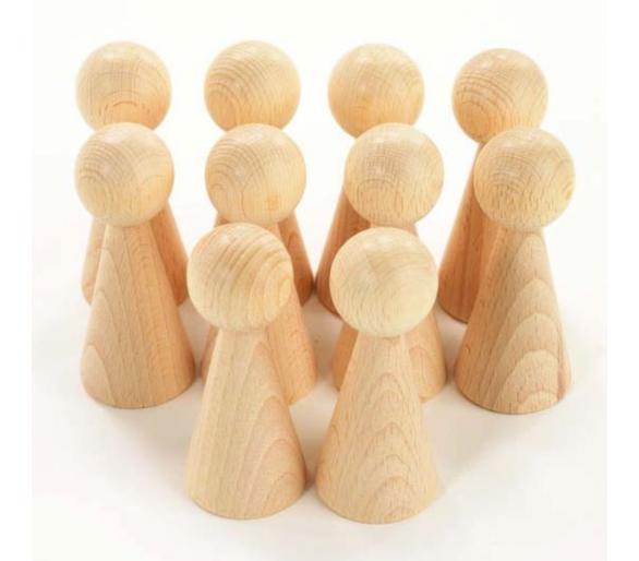Forma cónica de madera para la cesta de los tesoros