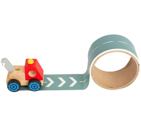 Camión de Madera rojo con calle adhesiva para jugar siempre