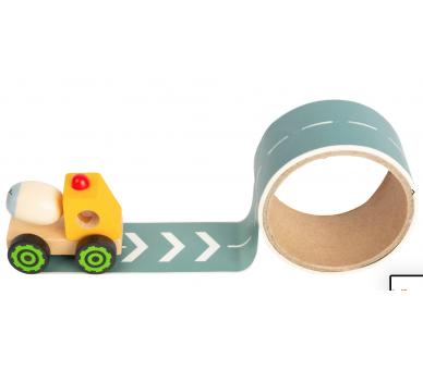 Camión Amarillo de Madera con Calle adhesiva para jugar