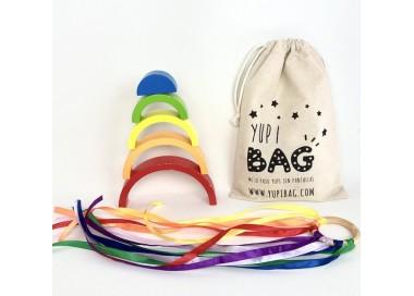 YupiBag Arco Iris y Anilla Waldorf para la cesta de los tesoros