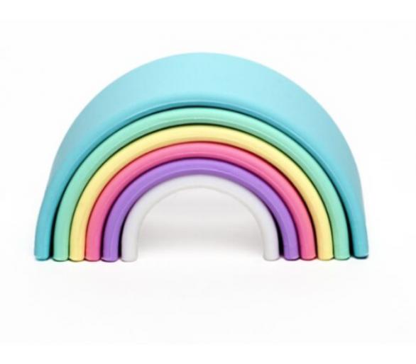 Arco Iris Waldorf Dëna en tonos pastel de Silicona pequeño para bebés