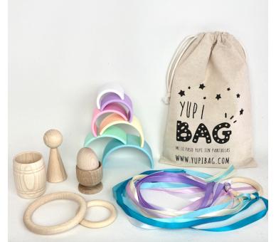 YupiBag con Arco Iris Dëna en Tonos Pastel y Cintas de Viento Waldorf