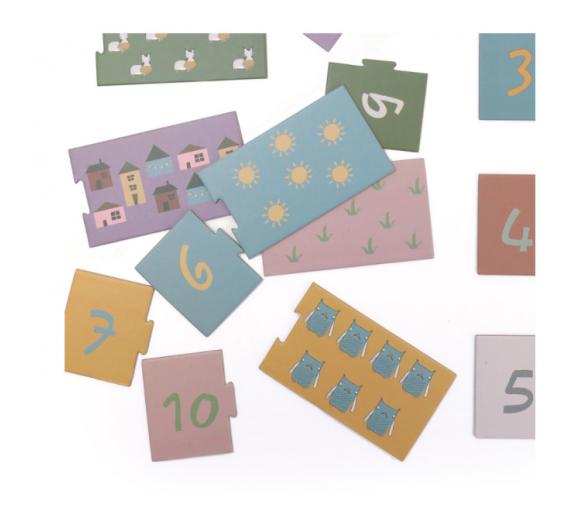 Puzzle Parejas Números Tonos Pastel ideal para llevar en la bolsita YupiBag