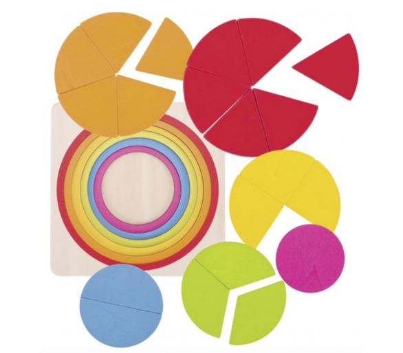 Aprender matemáticas con Puzzle Circular Fracciones
