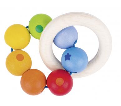 Sonajero con 2 anillas con 7 perlas color arco iris