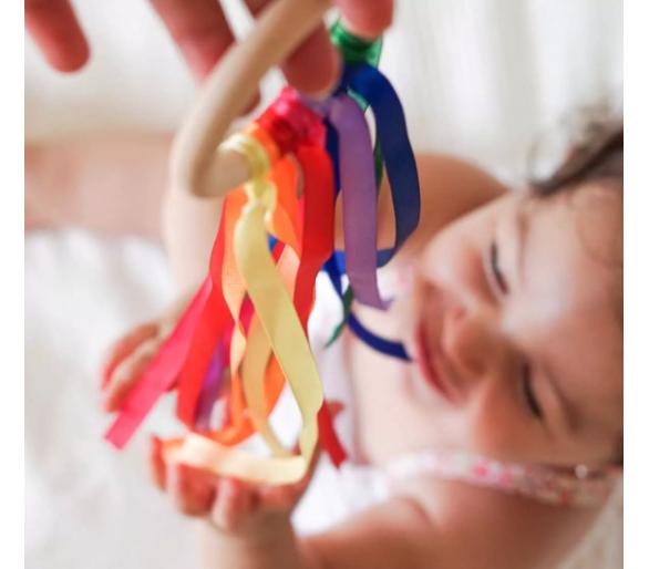 Cintas de Viento de madera Arco Iris Waldorf para bebés