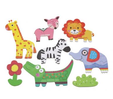 Cajita con Puzzles de Animales para llevar a cualquier sitio con la bolsita YupiBag