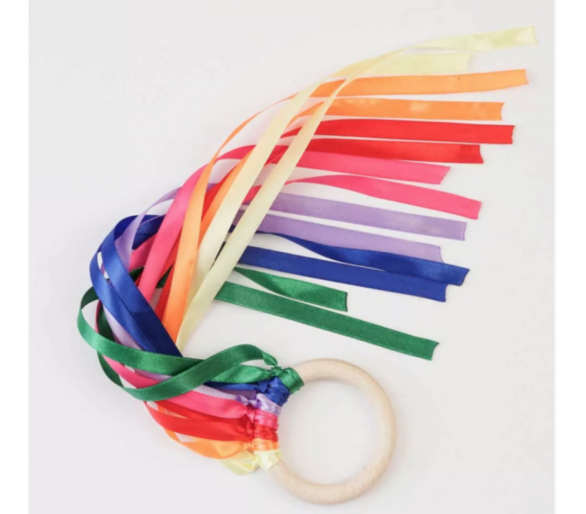Cintas de Viento Arco Iris Waldorf para la Cesta de los Tesoros Montessori