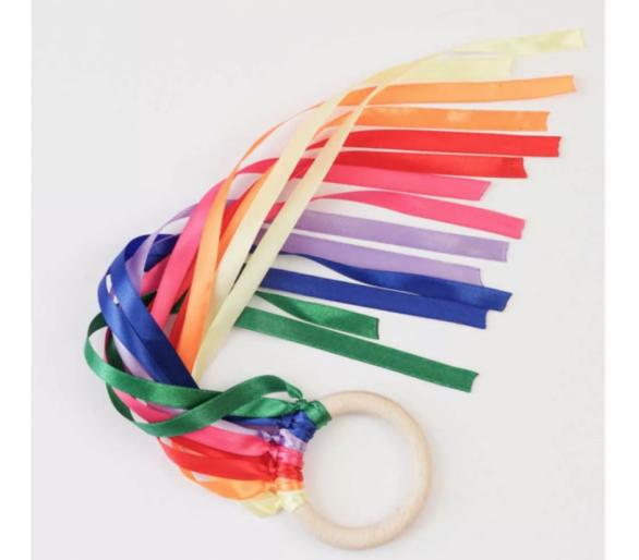 Anilla Cintas de Viento Waldorf Arco Iris para bebés